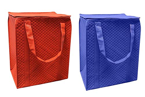 (Earthwise Insulated Grocery Shopping Bag Heavy Duty with Waterproof Leak proof Lining and Zipper Top Closure Large Collapsible Foldable Stand Upright Keep Food Hot or Cold (Pack of 2))