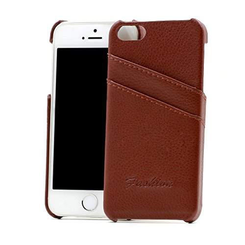 iPhone Se Case,iPhone 5 Case,iPhone 5S Case , Handmade Premium Genuine Leather Wallet Back Cover with 2 Card Slot Holder for Apple iPhone5 iPhone5S iPhoneSE ( Litchi Brown )