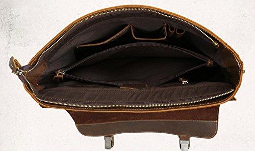 Insun - Bolso al hombro de Piel para hombre Brown Crazy Horse Leather