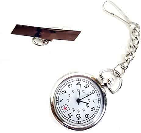 Silver Tone Nurse Watch Clip-On Brooch Pocket Second Hand Clock Medical Gift Box Lanyard FOB ID Tag Timer