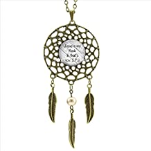 PrettyLee Jesus Is My Rock That'S How I Roll Necklace Quote Jewelry Dream Catcher Feather Necklace Art Photo Glass Cabochon Necklace