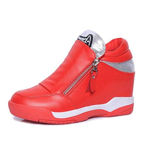 Ronde Tête Fermeture Sole Chaussure de Éclair Loisir Antidérapant Rouge Sport Chaussure en Femme au JRenok Automne xqwAESYgtc