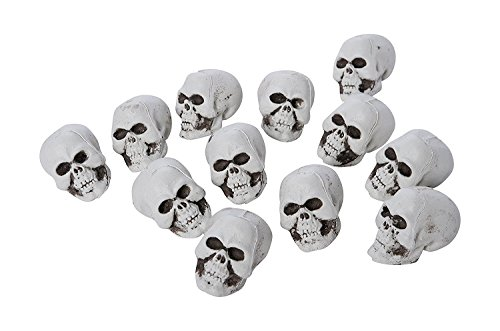 Price comparison product image 12-Piece Halloween Bag of Skull Heads Decoration Party Supplies for Home, School, Events, and Celebrations