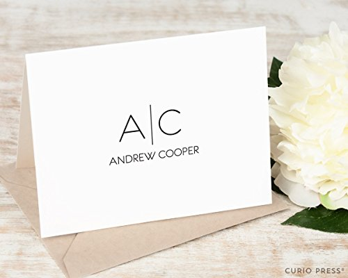 THIN LINE MONOGRAM FOLDED - Personalized Stationery / Stationary Notecard Set by Curio Press