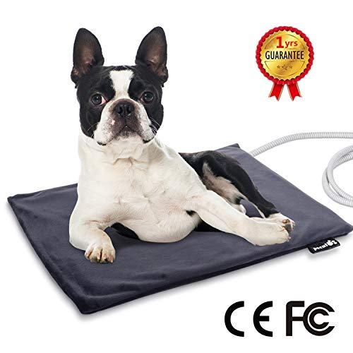 - Pecute Pet Heating Pad Low Voltage Safe Electric Heating Pet Mat for Dogs and Cats Warming Mat with Chew Resistant Cord and Waterproof Layer(M: 15.75'' x 19.7'')