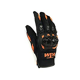 Vocado KTM Moto Biker Hand Gloves for Riding Saftey for Bikes Motorcycles Cycles (Black and Orange, X-Large)