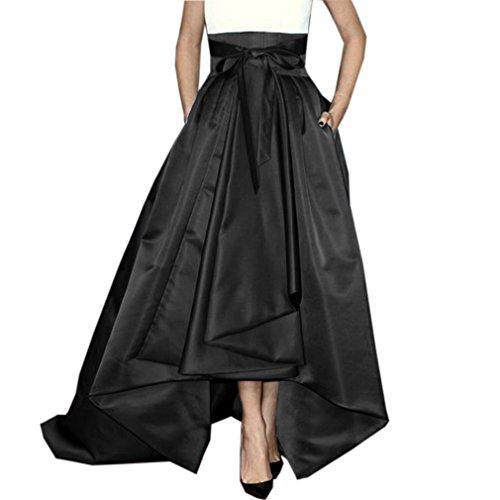 (Lisong Women Floor Length High Low Bowknot Belt Taffeta Party Skirt 14 US Black)