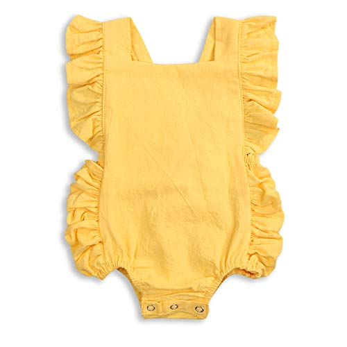 KCSLLCA Baby Girls Romper Solid Color Ruffle Sleeveless Backless Onesies (Yellow, 6-12 Months)