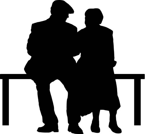 (People Silhouette Wall Decals - Elderly Couple On Park Bench Silhouette - 24 inch Removable Graphic)