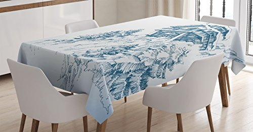 Ambesonne Asian Decor Tablecloth, Snowy Winter Landscape Painting With Mountain Hut Wooden Temple Pine Tree Forest Art Print, Rectangular Table Cover for Dining Room Kitchen, 60x84 Inches, Blue (Winter Table Decoration Ideas)
