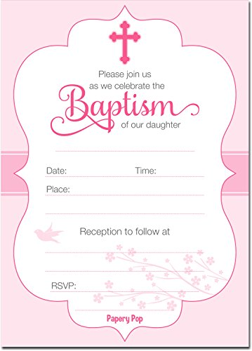 30 Baptism Invitations Girl with Envelopes (30 Pack) - Religious Christening Celebration Invites - Fill in Style