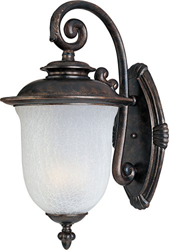 Maxim 3094FCCH Cambria Cast 2-Light Outdoor Wall Lantern, Chocolate Finish, Frost Crackle Glass, CA Incandescent Incandescent Bulb , 100W Max., Dry Safety Rating, Standard Dimmable, Fabric Shade Material, 3450 Rated Lumens