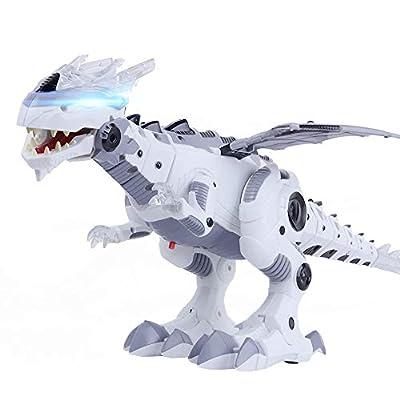 OceanEC Electronic Dinosaur Toy, New Multi-Functional Walking Dinosaur Robot Battery Powered Toy Flashing Lights Sounds Movement Kids