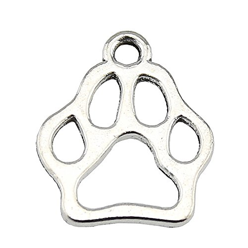 NEWME 60pcs Paw Charms Pendant For DIY Jewelry Wholesale Crafting Bracelet and Necklace Making ()