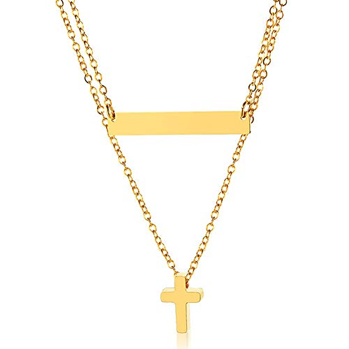 MIUPER BLOsssM 18k Gold Plated Stainless Steel Double Layer Small Cross Horizontal Bar Pendant Necklace for Women