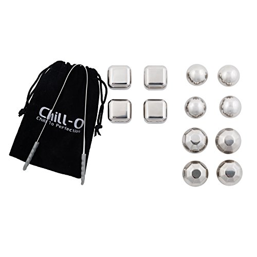 Chill-O Stainless Steel Combo Set of 12 Chillers Whiskey Stones Whiskey Chillers Wine Chillers