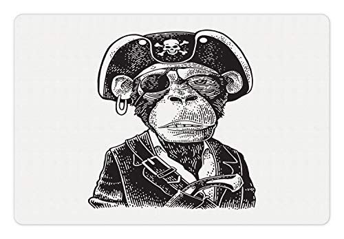 (Ambesonne Gorilla Pet Mat for Food and Water, Detailed and Graphic Portrait of a Pirate Funny Sailor Monkey, Rectangle Non-Slip Rubber Mat for Dogs and Cats, Charcoal Grey and White)