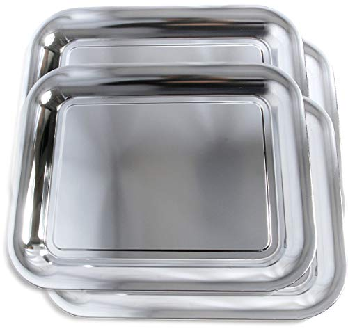 "Maro Megastore (Pack of 4) 15.6"" x 12.8"" Traditional Rectangular Trim Shiny Plain Design Tray/Wine Bottle Coaster Chrome Plated Serving Plate Mirror Deco Tray Platter Tableware (Small) T1022S-4PK"