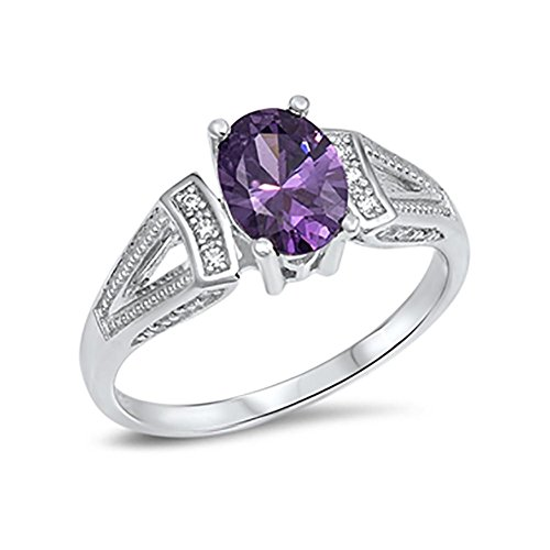 Wedding Engagement Ring Oval Simulated Purple Amethyst Round CZ 925 Sterling Silver Split Shank