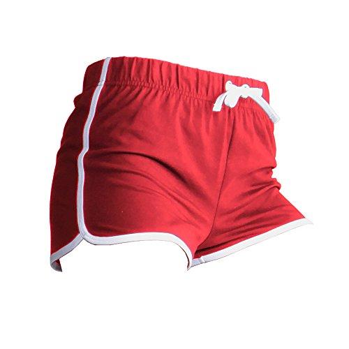 Skinni Fit Womens/Ladies Retro Training / Fitness Sports Shorts (Medium (US 10)) (Red/ White)