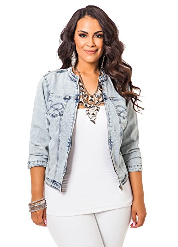 Ashley Stewart Women's Plus Size Zipper Front Jacket - Size: 22/24, Color: Light Pastel Blue