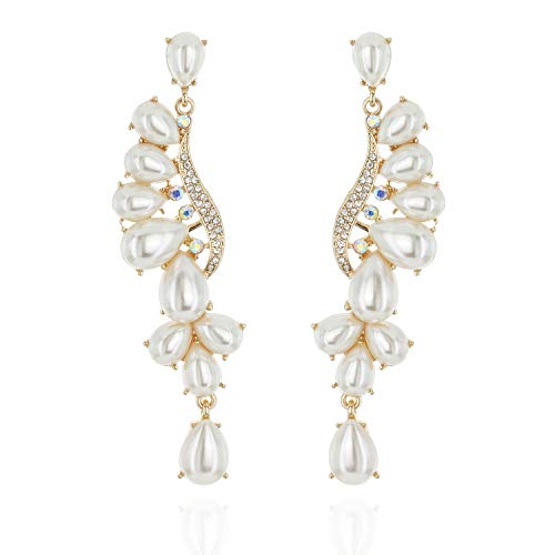 Flare Cascade Dangle Austrian crystal and Faux Pearl Accented Tear Drop Earrings in Gold]()