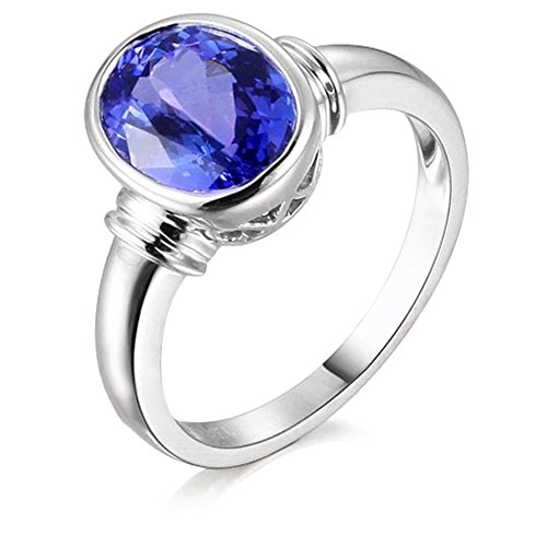 Unique Fashion Genuine Natural Tanzanite (2.02ct) Engagement Wedding Diamond 14K Solid White Gold Band Ring