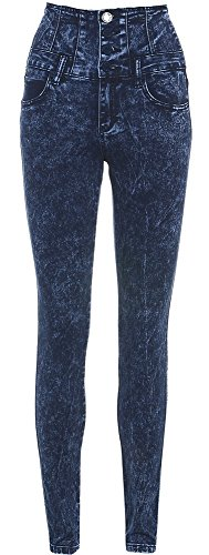 Femmes Taille Haute Pierre Bleue Jeans Skinny Dlav Taille 6 - 14