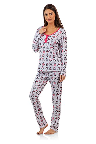 BHPJ By Bedhead Pajamas Women's Soft Knit Henley Shirt Pajama Set - Holiday Penguins - X-Large