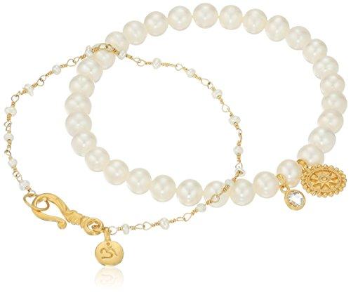 Satya Jewelry Freshwater Pearl Om Mandala Bracelet Set by Satya Jewelry