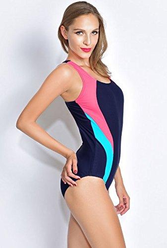 Lora Dew(TM) De las Mujeres Profesional Maxback Deporte sin respaldo de empalme trajes de baño de una pieza Azur+Rojo