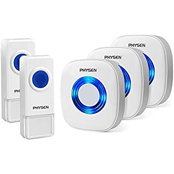 Physen Model CW Waterproof Wireless Doorbell kit with 2 Push Buttons and 3 Plugin Receivers,Operating at 1000 feet Long Range,4 Volume Levels and 52 Melodies Chimes,No Battery Required for Receiver