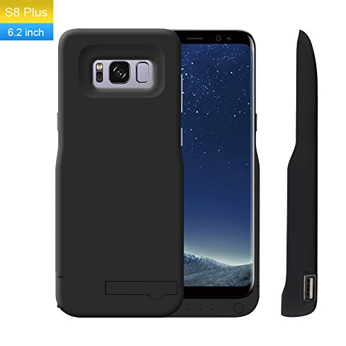 Galaxy S8 Plus Battery Case,TECHKEY Charger Case 6500mAh Extended Backup Battery Type C Portable Charger Juice Pack Charging Case Bank Cover with Kickstand for Samsung Galaxy S8 Plus 6.2 inch