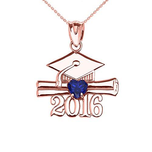 Collier Femme Pendentif 14 Ct Or Rose Cœur Septembre Pierre De Naissance Bleu Oxyde De Zirconium Classe De 2016 Graduation (Livré avec une 45cm Chaîne)
