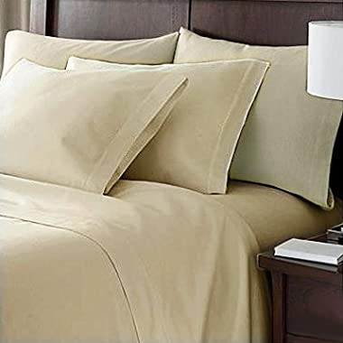 Hotel Luxury Bed Sheets Set- 1800 Series Platinum Collection-Deep Pocket,Wrinkle & Fade Resistant (CalKing,Cream)