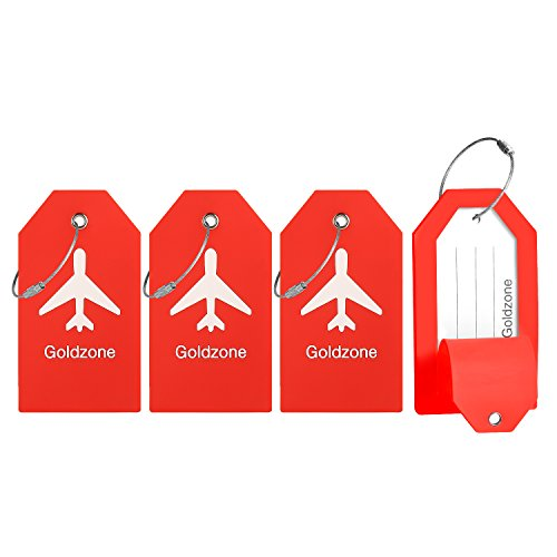 PVC Rubber Luggage Tags w/Full Privacy Flap,Great for Luggage Cases Identification by Goldzone (Red-4 Pack)