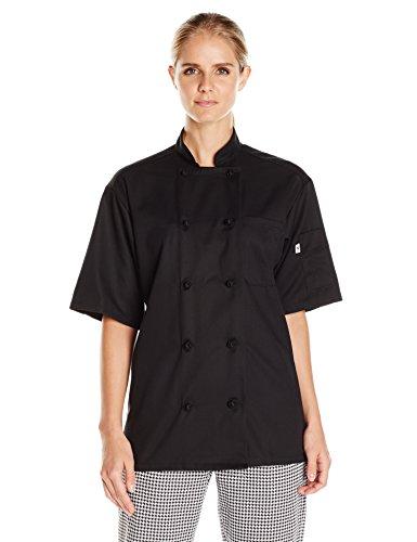 Uncommon Threads Unisex Monterey Chef Coat, Black, X-Large (Button Black Knot Coat)