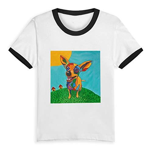 Toddler Baby Girls Boys for Short Sleeve Cotton T-Shirt Baseball Jersey, Rainbow-Chihuahua-INES-smrz