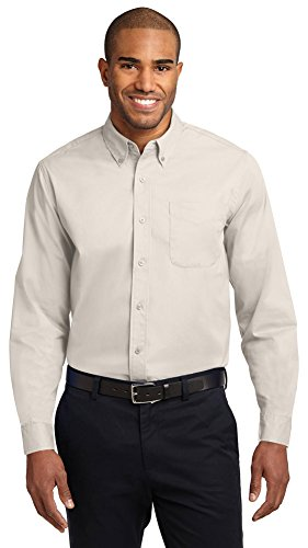 Port Authority Long Sleeve Easy Care Shirt, Light Stone/Classic Navy*, X-Large