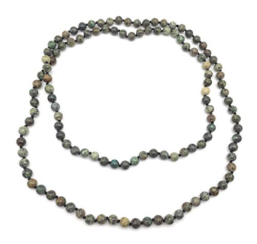 - xinpeng 8mm Natural Stone Gemstone Long Beaded Necklace Wrap Bracelet Handmade Jewelry for Women Men (African Turquoise)