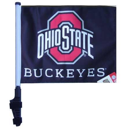 OHIO STATE BUCKEYES Black Flag with SSP Flags EZ On & Off Bracket / Golf Cart Flag