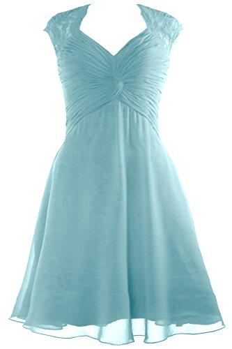 Chiffon Dress Short Bridesmaid Cap Dress Lace Aqua Cocktail Sleeve MACloth 2017 Women I7qwvv