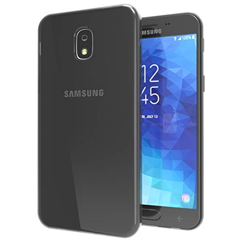 (Galaxy J7 2018 Case ,J7 Refine/J7 V 2nd Gen/J7 Aero/J7 Star/J7 Crown/J7 Aura case [Slim Thin] Flexible TPU Shock Absorption Soft Skin Silicone Protective Case Cover for Galaxy J7 (Crystal-Smoke Black))