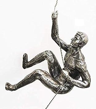 1 escultura de plata envejecida para escalador diestro, hecha a mano, con cuerda de alambre, para montar en la pared