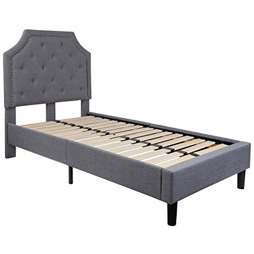 Flash Furniture Brighton Tufted Upholstered Twin Size Platform Bed in Light Gray Fabric (Fabric Frame Twin Bed)