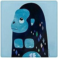 Maxwell & Williams Pete Cromer Wildlife Ceramic Square Coaster, Gorilla Design, 9.5 cm Light Blue