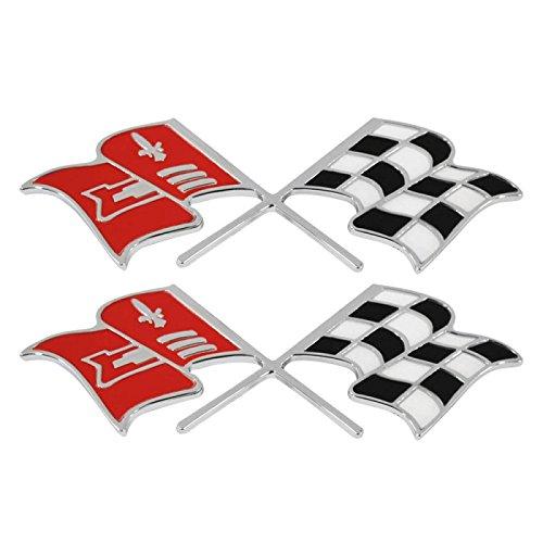 Eckler's Premier Quality Products 25-120250 Trim Parts, Crossed-Flags Emblems, Side Fender| 5155 Corvette - (Corvette Crossed Flags)