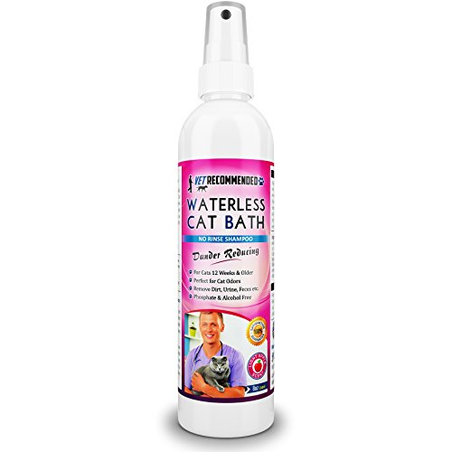 Waterless Cat Shampoo - Vet Recommended NEW Waterless Cat Shampoo - Detergent and Alcohol Free - Apple Extract Dry Cat Shampoo Spray to Clean, Moisturize & Help Cat Dander - Use Without Using Water. USA Made (8oz/240ml)