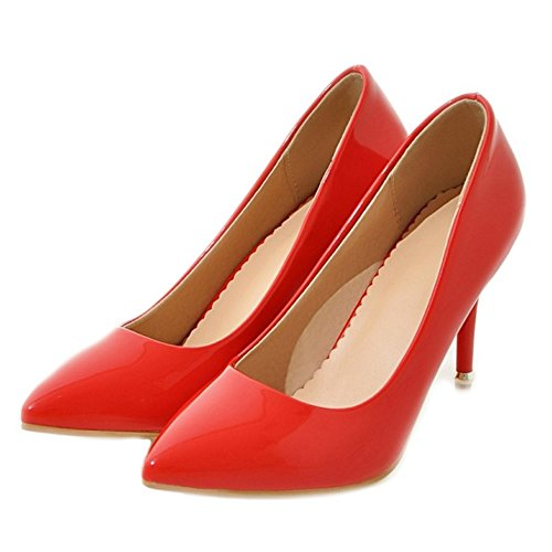 SJJH Court Shoes with Stiletto and Pointed Toe Nice Women OL Style Pumps Simple Design Women Shoes with Large Size Red OXX4uuyPh
