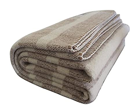 Woolly Mammoth Woolen Company Farmhouse Collection Southern Grown Wool Blanket (Tan/Cream Stripe) - New Mens Southern Thread